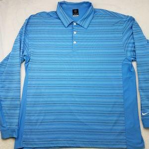 Nike Golf Dri Fit UV Blue Long Sleeve XL